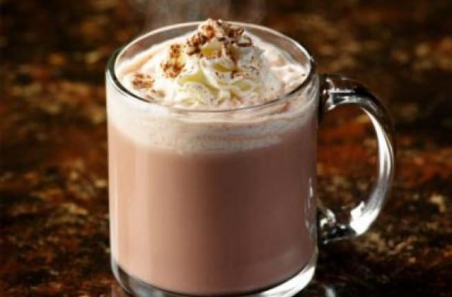 clear glass mug with IZKALI Doubly Hot Chocolate